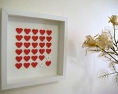 Personalized Wedding Gift - Commemorate Wedding Gift 3D Wedding Paper Work - Red and White Hearts - White Framed