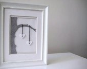 Wedding Gift White Framed - Commemorate Tree and White Hearts - 3D Wedding Paper Work - OOAK