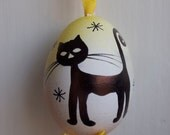 Easter Egg Hand Crafted and Painted with Black kitty Cat