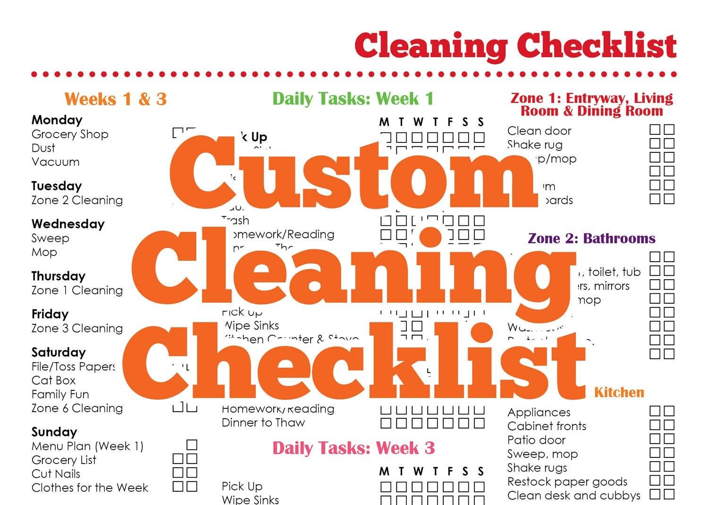 Custom Cleaning Checklist