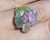Ruby in the Rough - Ruby Peridot Amethyst Cluster Gemstone Ring FREE SHIPPING