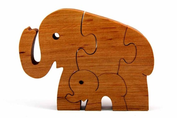 Natural Wooden toy. Elephants