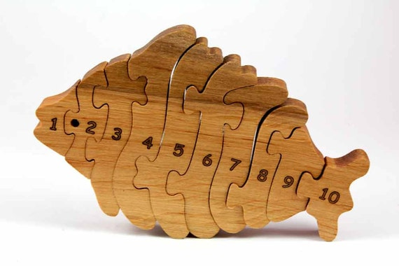 Natural Wooden toy. Fishy