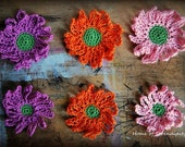 Crochet handmade flowers-set of 6.(pink-purple-orange)