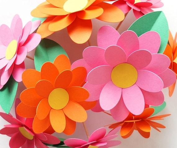 DIY Flower Cake Picks or Cupcake Picks Kit in Orange & Pink