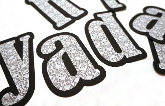 20 Paper Letters in Black & White Scroll Pattern