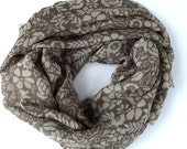 Scarf  cappuccino with beige flowers