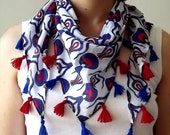 100% Cotton White Triangle Scarf With Traditional Ottoman Red And Blue Tulip Figure