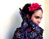100% Cotton Black Scarf  With Traditional Ottoman Tulip And Dianthus Figure