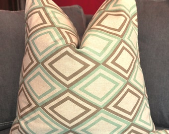 Geometric Pillow Cover, Decorative Pillow, Throw Pillow, Toss Pillow, Sofa Pillow, Aqua Diamond, Trellis, Lattice, Fretwork, Home Furnishing