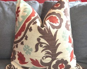 Suzani Pillow Cover, Decorative Pillow, Throw Pillow, Brick Red, Toss Pillow, Brown Suzani, Home Furnishing, Home Decor, Pillow Case