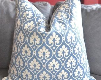 Pillow Cover, Decorative Pillow, Throw Pillow, Toss Pillow, Accent Pillow, Sofa Pillow, Blue Leaf, 15x15 inch, Home Furnishing, Home Decor