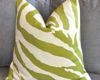 Zebra Pillow, Green Zebra, Pillow Cover, Decorative Pillow, Throw Pillow, Toss Pillow, Accent Pillow, Sofa Pillow,Home Furnishing,Home Decor
