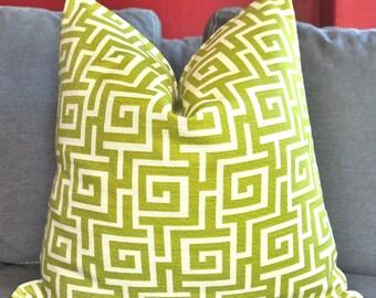Pillow Cover, Decorative Pillow, Throw Pillow, Toss Pillow, Sofa Pillow, Green Greek Key, Green Lattice, Home Furnishing, Home Decor