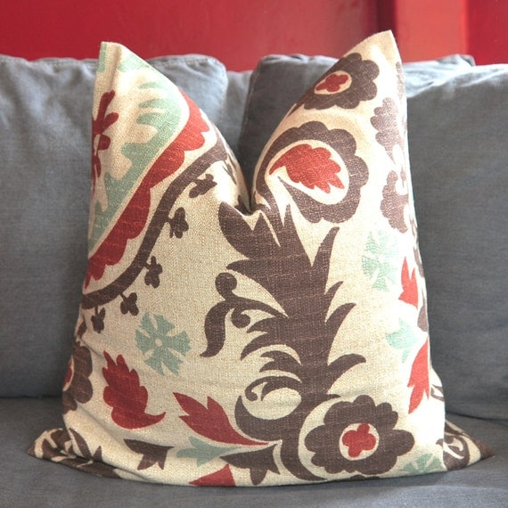 ON BOTH SIDES - Pillow Cover - Decorative Pillow Cover - Throw Pillow Cover - Suzani - 18x18 inch