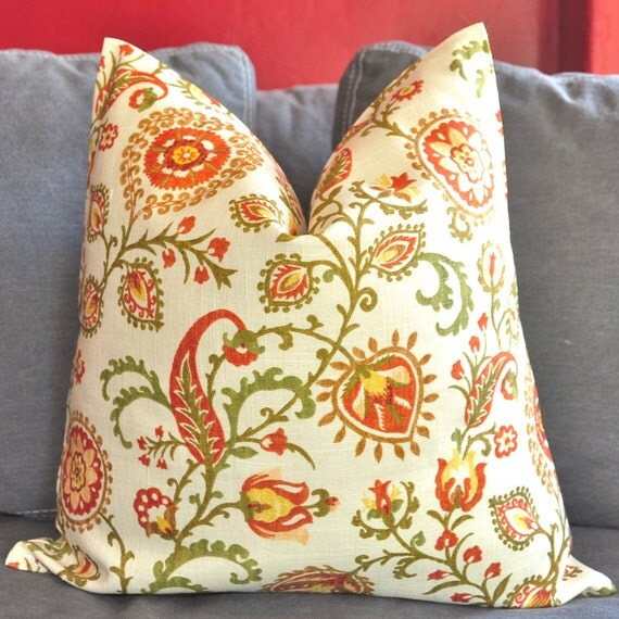 On Both Sides - Pillow Cover - Decorative Pillow Cover - Throw Pillow Cover - Suzani - Floral - 18x18 in