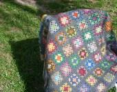Hand crochet Afghan,multi-color yarn
