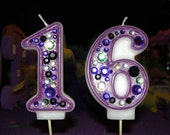 Birthday Candle -  Blinged Out Number Candle - DOUBLE DIGIT -   Rhinestone,  glitter,  blingy number candles.  Sweet 16.