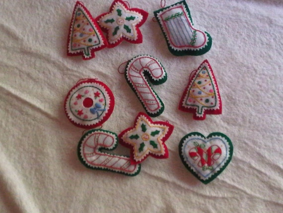Hand Embroidered Felt Christmas Ornaments