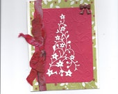 Handmade red, white and green Christmas card