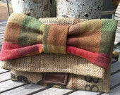 Coffee Sack Burlap and Cotton Casual Foldover Clutch