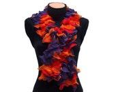 Hand knitted Red,Purple,Orange ruffled scarf
