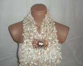 Hand knitted cream elegant scarf with lovely ribbon&crystal brooch
