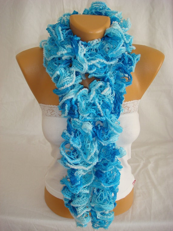 Hand knitted sky blue ruffled scarf