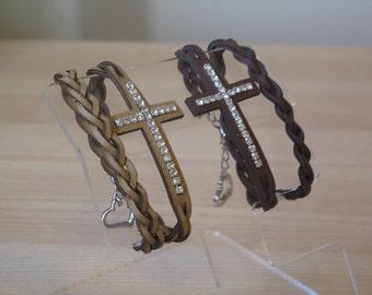 Leather cross bracelet. Cross bracelet.Sideways cross bracelet. Leather cord.