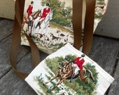 On Sale Equestrian Fox Hunting Horse Handmade Cotton Fully Lined Purse Handbag