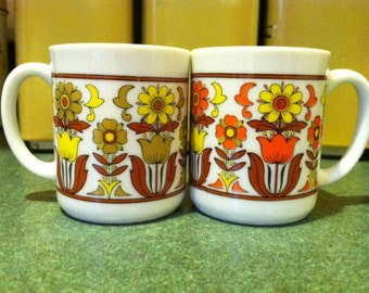 Pair of Groovy Flower Demitasse Cups