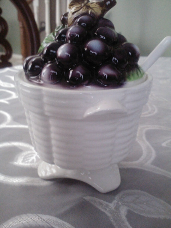 """Vintage  Lefton's """"Grapes Basket"""" Marmalade / Jelly Jar/ Featured On ETSY Home Page"""
