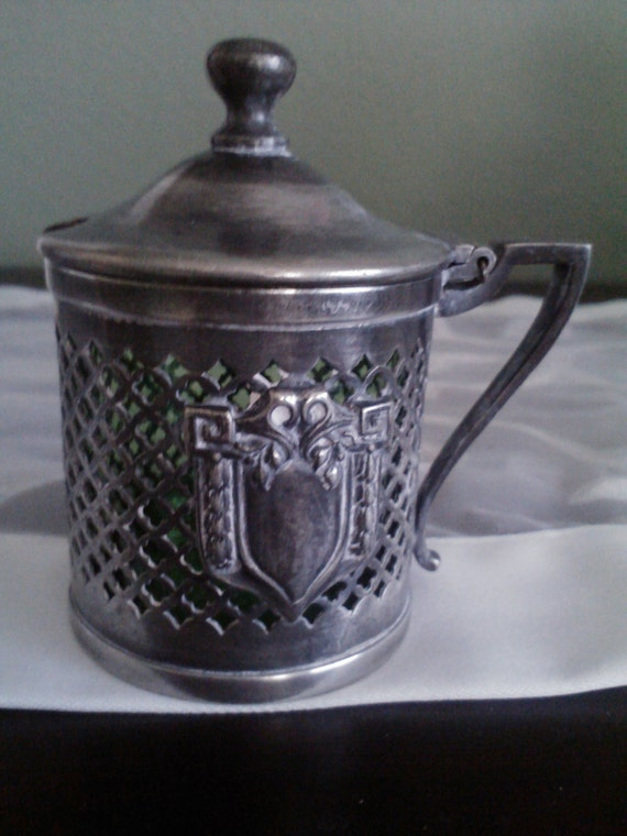ANTIQUE Pewter Mustard Pot with Green Glass Insert