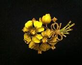 Vintage Enamel and Rhinestone Flower Pin