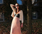 Pale Pink Maxi with Faux-Leather Bustier
