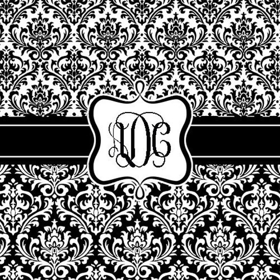 Damask black and white Personalized Shower Curtain Custom