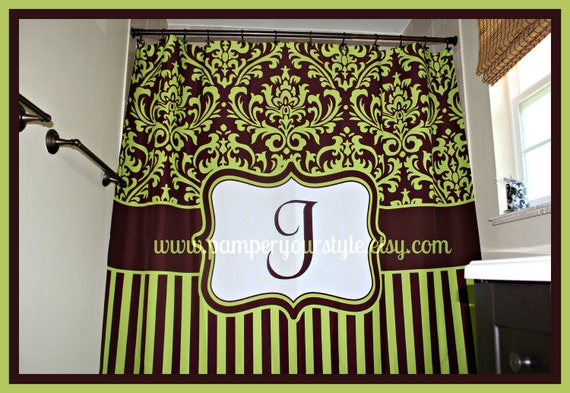 Items Similar To On Sale Green And Brown Damask And Stripe Personalized Shower Curtain Custom