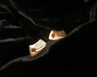 Gold Plated Cuff Links with Ruby Colored Stone Inset