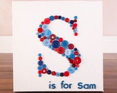 """Letter initial button canvas, S is for Sam. 10""""x10"""""""