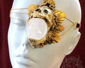 gold gilded skull latex monocle with strap