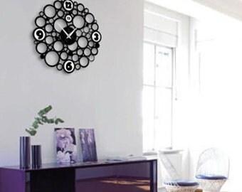 """Modern clock, Black clocks, Unique wall clocks,  """"Aqua"""","""