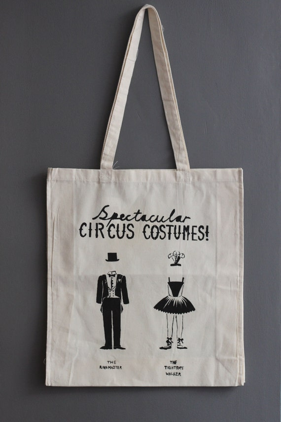"""Hand-printed cotton tote bag - """"Circus Costumes"""" in Black"""