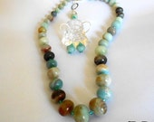 Set necklace and earrings amazonite and Swarovski bicones