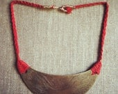 Dragon Imagery on Etched Crescent Brass Bib with Red Cotton & Brass Wire Necklace