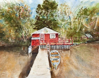 The Lake House - a Watercolor Limited Edition Fine Art Giclee Print