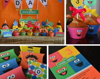Sesame Street Birthday Printables, Sesame Street Party Supplies, Sesame Steet Favors, Sesame Street Decor, Elmo Birthday Banner, Gift Tags