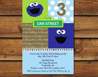 Cookie Monster 1st Birthday Invitation, Cookie Monster Invitation, Cooke Monster Birthday, Cookie Monster first Birthday Party