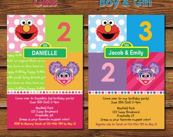 Elmo and Abby Birthday Party, Elmo and Abby Invitation, Elmo Abby Cadabby, Elmo Abby Invitation, Elmo and Abby Party, Abby Elmo Invitation