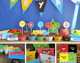 Angry Birds Birthday Printables, Angry Birds Boys Birthday, Angry Bird Boy Party Supplies, Angry Birds Party Decor, Bad Piggies Birthday