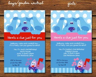 Blues Clues Invitation, Blues Clues Invite, Nick Jr Invitation, Nick Jr Invite, Blue Dog Invitation, Blue Dog Invite, Blue Dog Birthday